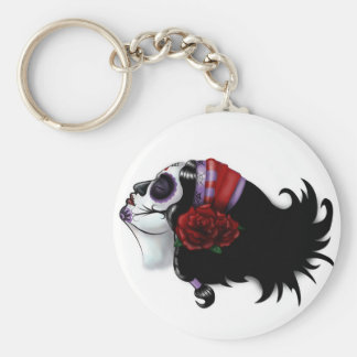 Sugar Skull Design Basic Round Button Keychain
