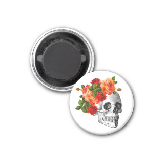 Sugar Skull Dia De Los Muertos Day of the Dead 1 Inch Round Magnet