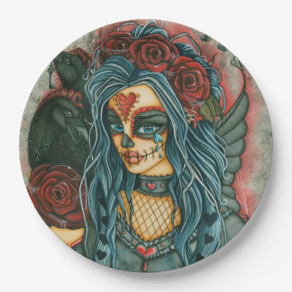 Sugar Skull Fairy Face and Crows Paper Plate