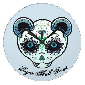 Sugar Skull Ferret Clock