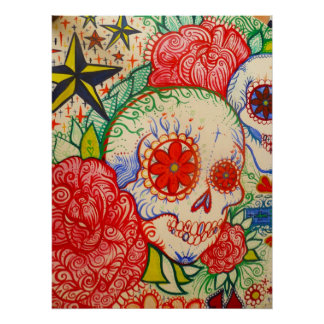 sugar skull flower day of the dead poster art