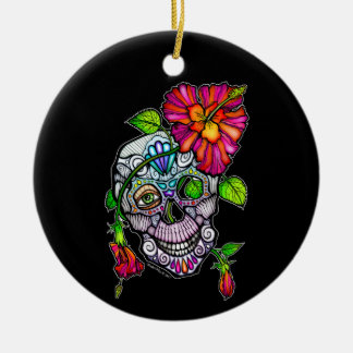 SUGAR SKULL & FLOWER ROUND CERAMIC ORNAMENT