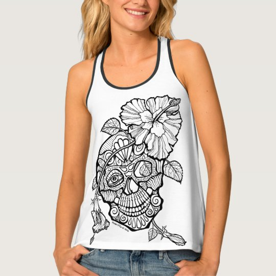 SUGAR SKULL & FLOWER YOU COLOR IT T-SHIRTS TANK TOP