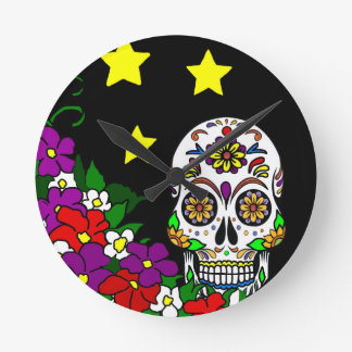 Sugar Skull, Flowers and Stars Round Clock