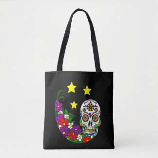 Sugar Skull, Flowers and Stars Tote Bag