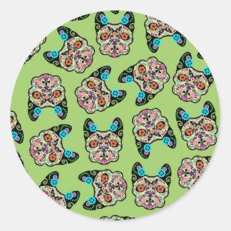 Sugar Skull Frenchie - Green Classic Round Sticker