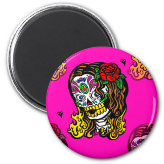 sugar skull girl 2 inch round magnet