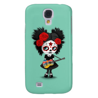Sugar Skull Girl and British Columbian Flag Guitar