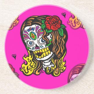 sugar skull girl beverage coasters
