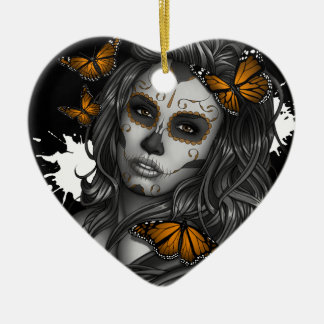 Sugar Skull Girl Ceramic Heart Ornament