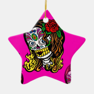 sugar skull girl ceramic ornament