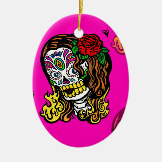 sugar skull girl ceramic oval ornament