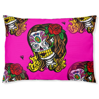 sugar skull girl pet puppy dog bed dogbed large dog bed