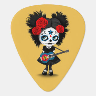 Sugar Skull Girl Playing Colorado Flag Guitar Guitar Pick