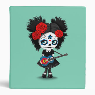 Sugar Skull Girl Playing Colorado Flag Guitar Vinyl Binder