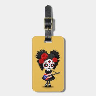 Sugar Skull Girl Playing Puerto Rican Flag Guitar Luggage Tag