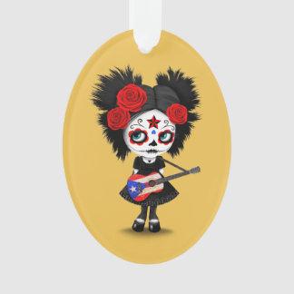 Sugar Skull Girl Playing Puerto Rican Flag Guitar Ornament