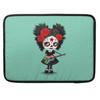 Sugar Skull Girl Playing South African Flag Guitar Sleeves For MacBook Pro