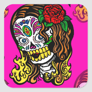 sugar skull girl square sticker