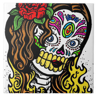 Sugar Skull Girl Tile