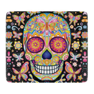 Sugar Skull Glass Cutting Board - Colorful Art