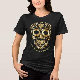 sugar skull gold gothic day of the dead biker 3 T-Shirt