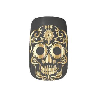 Sugar Skull gold print Minx Nail Art Decals