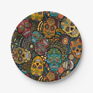 "SUGAR SKULL Halloween 7"" Party Plates 7 Inch Paper Plate"