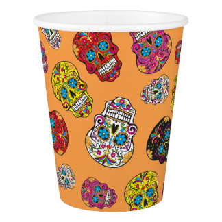 Sugar Skull Halloween Day of the Dead Print Paper Cup