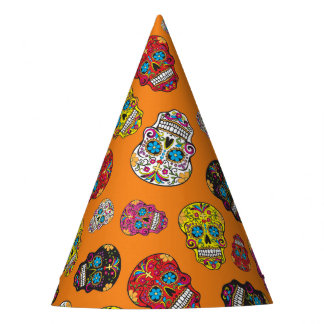 Sugar Skull Halloween Day of the Dead Print Party Hat