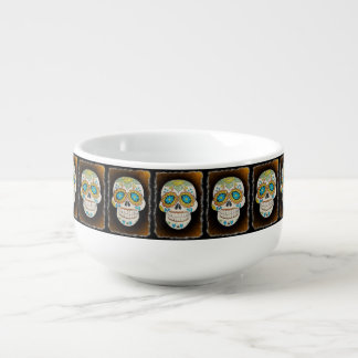 Sugar Skull Halloween Jumbo Bowl Mug Soup Bowl With Handle