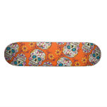 Sugar Skull Halloween Orange Skate Board