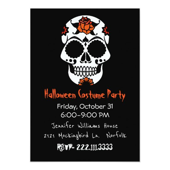 Sugar Skull Halloween Party Invitation