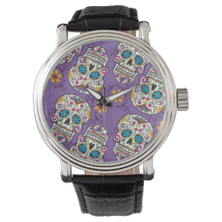 Sugar Skull Halloween Purple.png Wristwatches