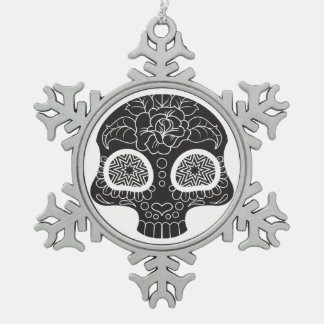 Sugar Skull Heart and Flower Pewter Snowflake Ornament