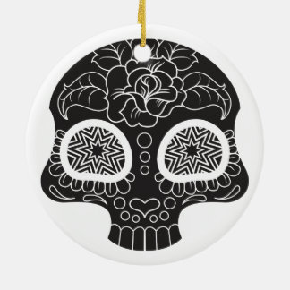 Sugar Skull Heart and Flower Round Ceramic Ornament