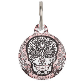 Sugar Skull in Pink Pet Name Tag