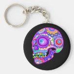 Sugar Skull Keychain - Colourful Art by Thaneeya