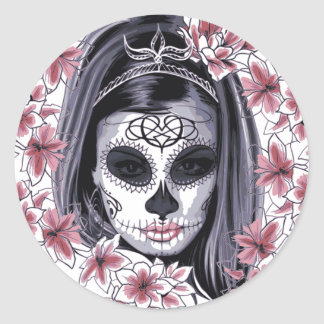Sugar Skull Lady Round Sticker sheet