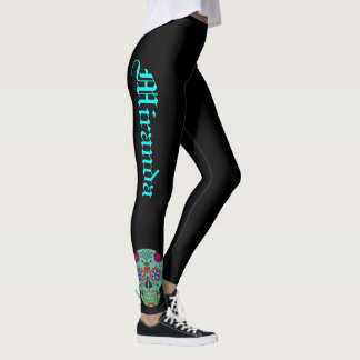 Sugar Skull Leggings Black Day of the Dead Pants