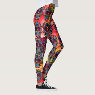 Sugar Skull Leggings Colorful Fiesta Pants
