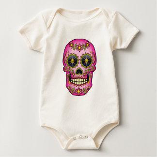Sugar Skull  - Magenta Floral Baby Bodysuit
