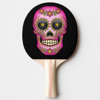 Sugar Skull Magenta Floral Ping-Pong Paddle