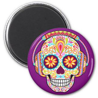 Sugar Skull Magnet - Skull Wearing Headphones