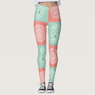 Sugar Skull Melon Color Leggings