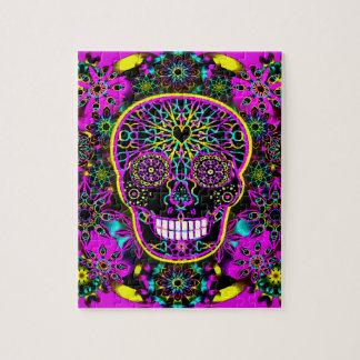 Sugar Skull Neon Pink Puzzles