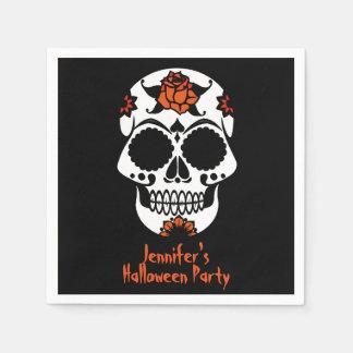 Sugar Skull on Black Halloween Paper Napkins
