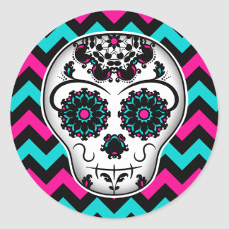 Sugar skull on chevron stripes pattern classic round sticker