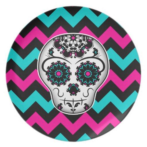 Sugar Skull Pattern Wallpaper Sugar skull on chevron stripes