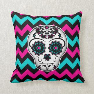 Sugar skull on chevron stripes pattern throw pillow